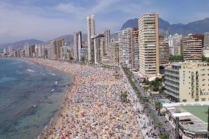 A  crowded Benidorm beach